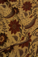 Beige with Maroon Floral Modal Silk Fabric