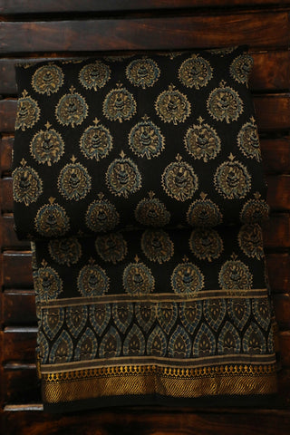 Black with Bluish Yellow Ajrak Silk Cotton Saree