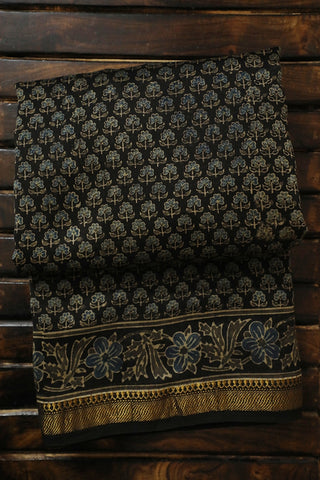 Small Florals in Black Ajrak Silk Cotton Saree