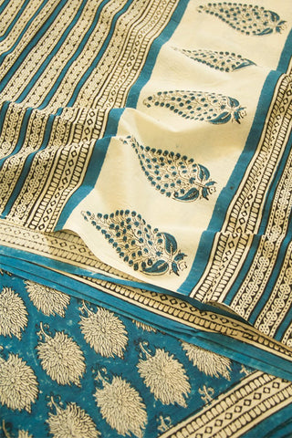Blue Block Printed Mul Cotton Saree