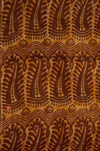Yellow with Brown Modal Silk Fabric-1.5 m