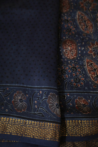 Indigo with Maroon Intricate Florals Ajrak Silk Cotton Saree