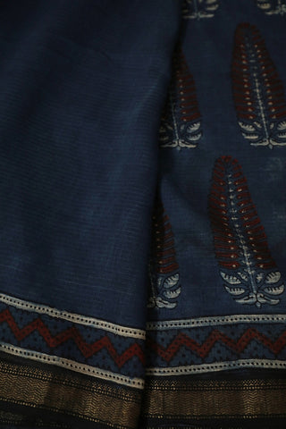 Indigo with Maroon Big Floral Ajrak Silk Cotton Saree