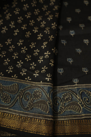 Small Lotus Floral in Black Ajrak Silk Cotton Saree