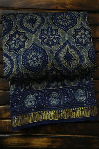 Indigo with Bluish Yellow Ajrak Silk Cotton Saree