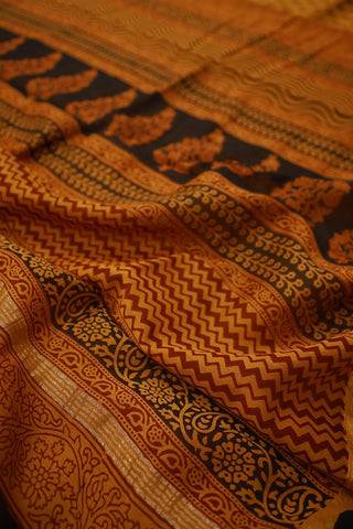 Intricate Leaf in Rust Red Ajrak Silk Cotton Saree