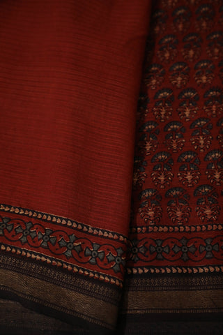 Florals in Maroon Ajrak Silk Cotton Saree