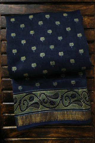 Indigo with Yellowish Green Lotus Ajrak Silk Cotton Saree
