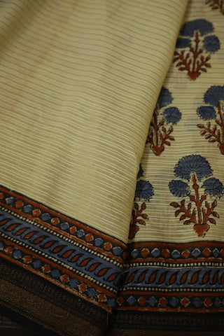 Off White with Indigo Ajrak Silk Cotton Saree