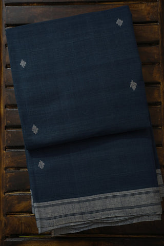 Subdued indigo Hand-spun Handwoven Khadi Cotton Saree