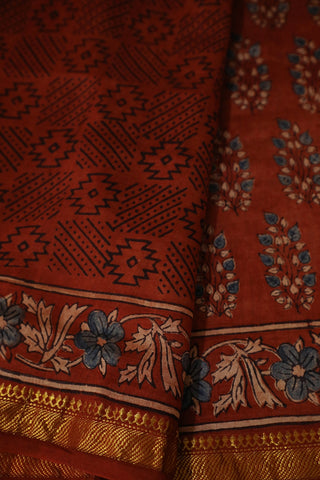 Maroon with Blue Leaf Ajrak Silk Cotton Saree
