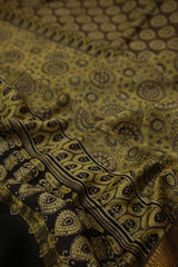 Yellow Florals Ajrak Silk Cotton Saree