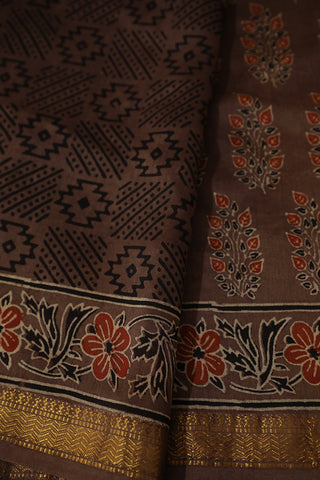Greyish Brown Floral Ajrak Silk Cotton Saree