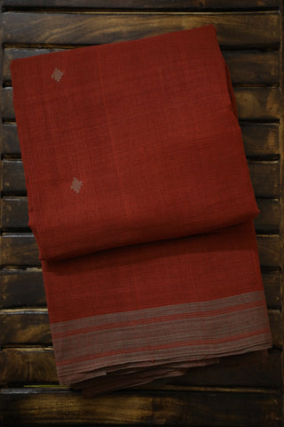 Subdued Maroon Handwoven Khadi Cotton Saree