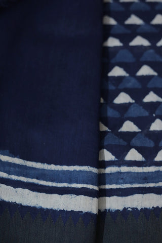 Indigo with Off White Gicha Border Chanderi Saree