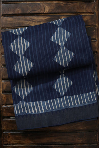 Indigo Lines and Squares Gicha Border Chanderi Saree