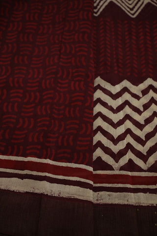 Shades of Maroon Gicha Border Chanderi Saree