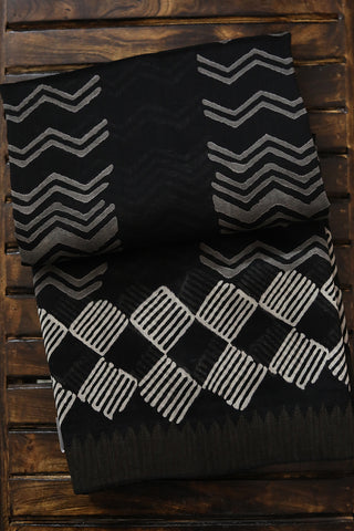 Black with Grey Waves Gicha Border Chanderi Saree