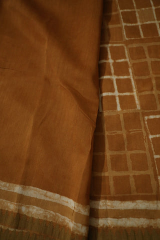 Brown with Small Gicha Border Chanderi Saree