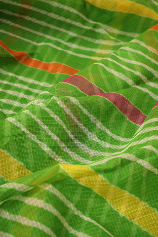 Green with White Lines Kota Leheriya Cotton Saree