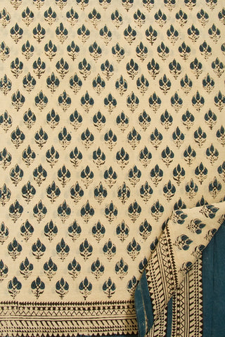 Three Leaves - Offwhite with Blue Mul Cotton Saree