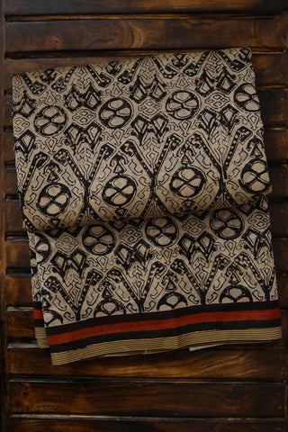 Black with Beige Block Printed Chanderi Saree