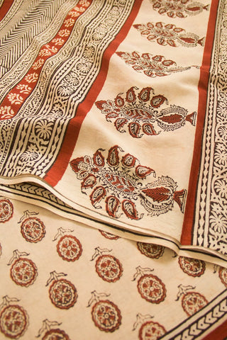 Beige with Rust Red Mul Cotton Saree