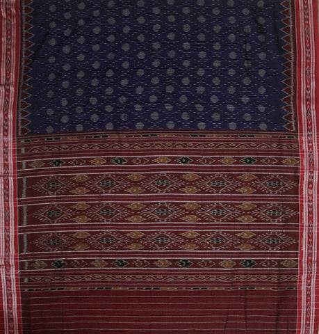 Blue with Red Handwoven Orissa Ikat Saree