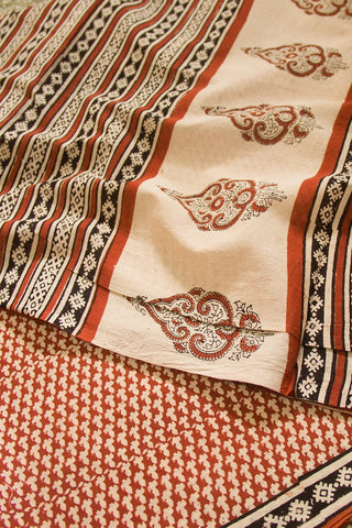 Brick Red Block Printed Mul Cotton Saree
