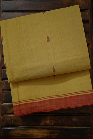Light Yellow with Maroon Hand-spun Handwoven Cotton Saree