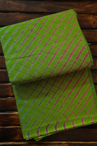 Parrot Green Kota Leheriya Saree