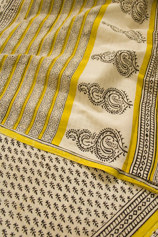 Offwhite with Yellow Bagru Print Mul Cotton Saree