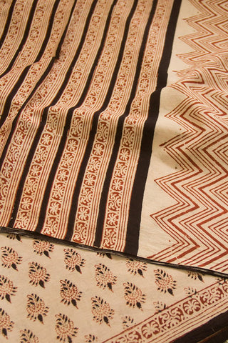 Beige with Rust Red Bagru Print Mul Cotton Saree