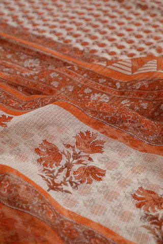 Orange Lotus Block Printed Kota Doria Saree