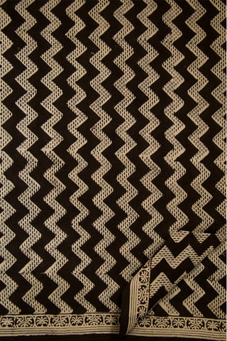 Black Zigzags Bagru Print Mul Cotton Saree
