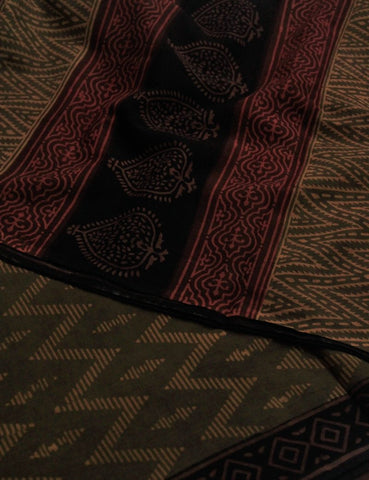 Zigzags - Natural Dyed Block Printed Mul Cotton Saree