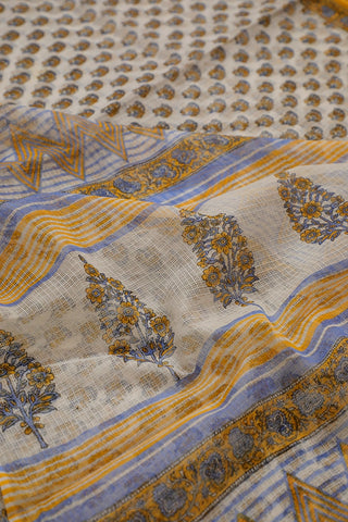 Off White with Yellow Block Printed Kota Doria Saree
