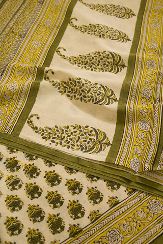 Yellow Green Block Printed Mul Cotton Saree