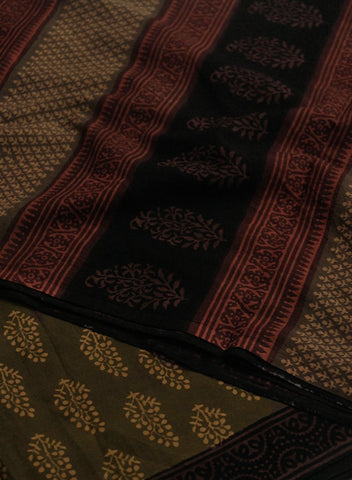 Natural Dyed Block Printed Mul Cotton Saree