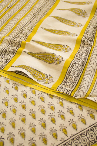 Yellow with Offwhite Bagru Print Mul Cotton Saree