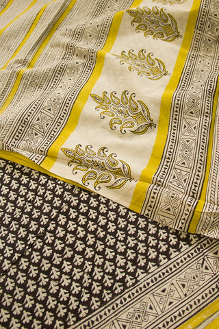 Black with yellow Bagru Print Mul Cotton Saree
