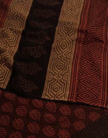 Red with maroon Block Printed Mul Cotton Saree