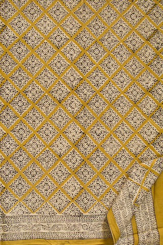 Yellow Diamonds Block Printed Mul Cotton Saree