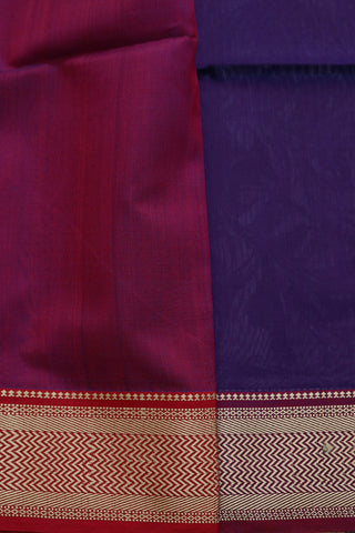 Blue with Pink Thread Border Maheshwari Silk Cotton Saree