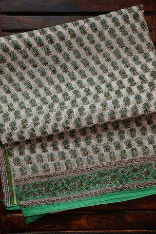 Light Green Small Leaf Floral Block Printed Kota Doria Saree