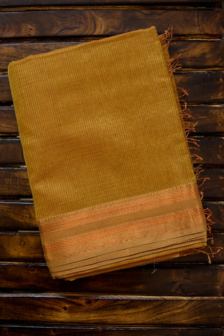 Beige with Missing Checks Maheshwari Silk Cotton Saree
