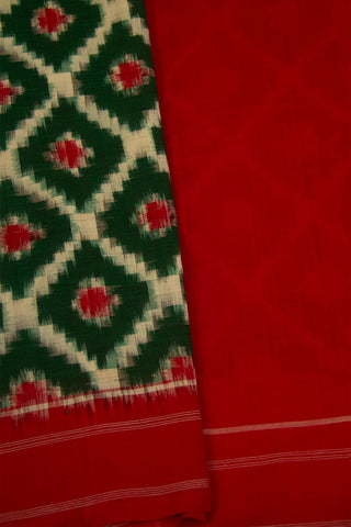 Green with Red Telia Rumal Handwoven Ikat Cotton Saree