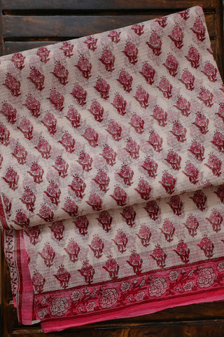 Pink Small Floral Block Printed Kota Doria Saree