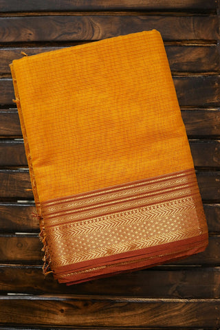 Yellow Missing Weaves with Zari Border Maheshwari Silk Cotton Saree