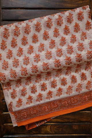 Light Orange with Brown Floral Block Printed Kota Doria Saree